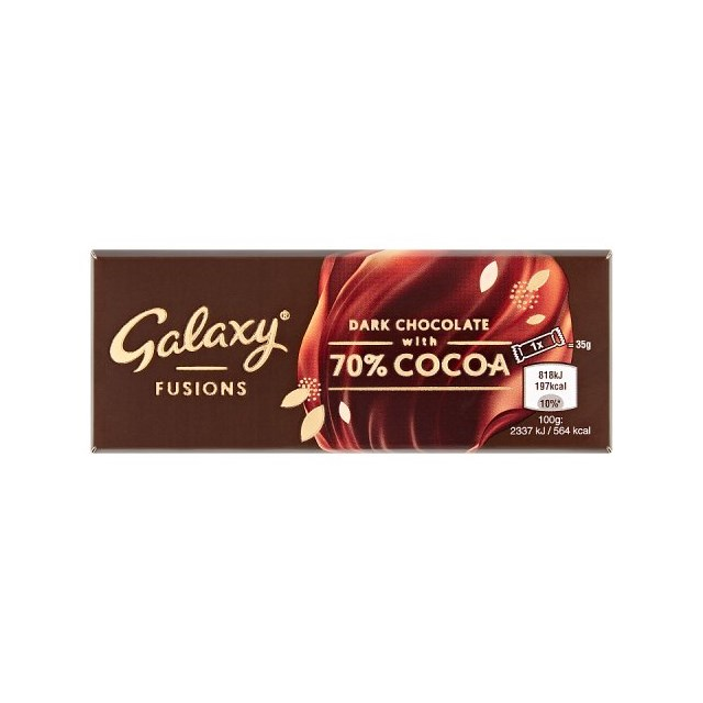 GALAXY FUSIONS DARK CHOCOLATE WITH 70% COCOA 35g (19 pack)