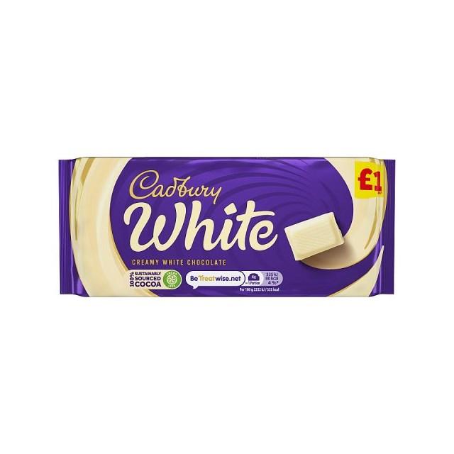 CADBURYS WHITE CHOCOLATE 90g £1 (24 pack)