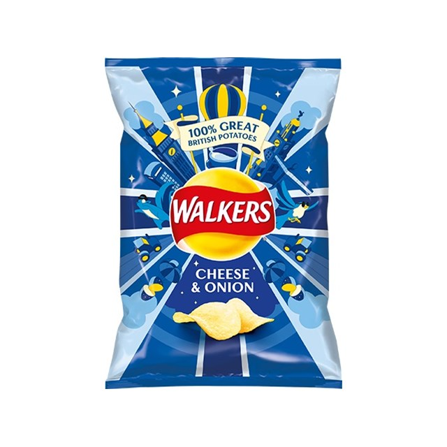 WALKERS CHEESE & ONION 32.5g Bags (32 PACK)