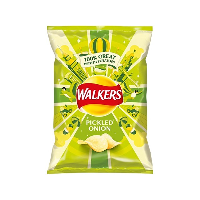 WALKERS PICKLED ONION 32.5g Bags (32 PACK)