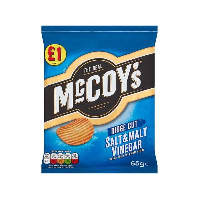MCCOYS £1 SALT & VINEGAR 65g (16 PACK)