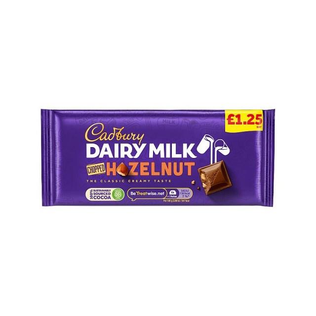 CADBURYS DAIRY MILK CHOPPED NUTS £1 95g (22 PACK)
