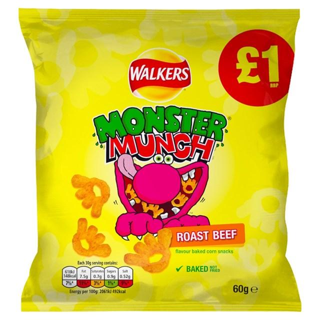 WALKERS MONSTER MUNCH £1 ROAST BEEF 60g (15 PACK)