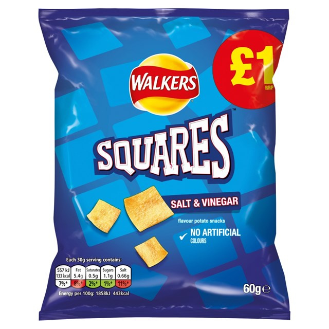 WALKERS £1 SQUARES SALT & VINEGAR 60g (15 PACK)