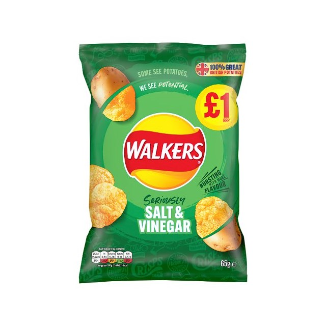 WALKERS CRISPS SALT & VINEGAR  65g £1 (15 PACK)