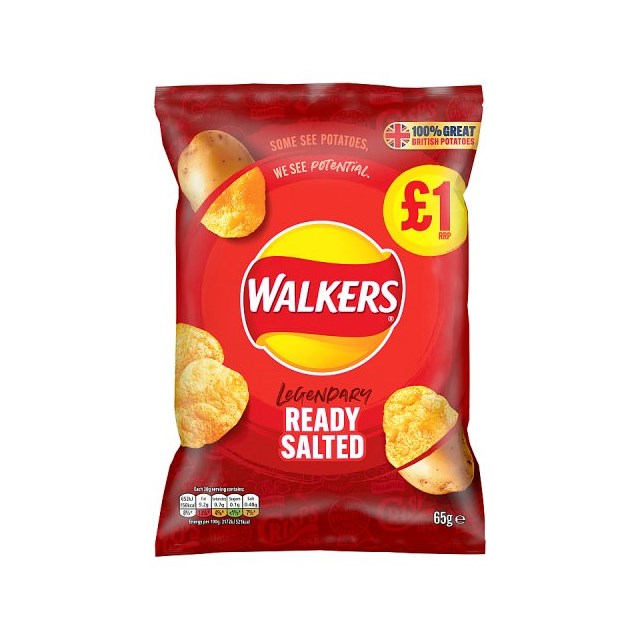 WALKERS CRISPS READY SALTED 65g £1 (15 PACK)