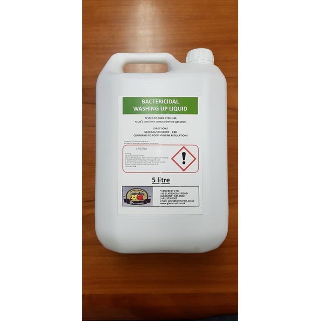 GLENCREST 5L BACTERIACIDAL WASHING UP LIQUID