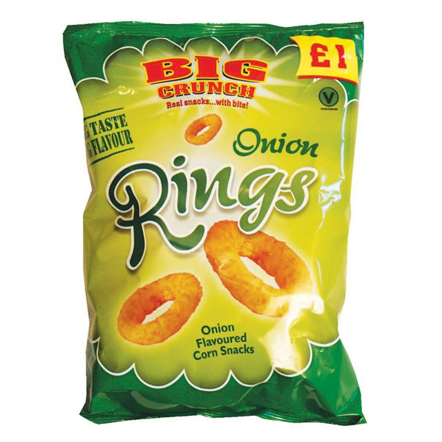 GOLDEN CROSS BIG CRUNCH ONION RINGS 110g £1 (12 PACK)