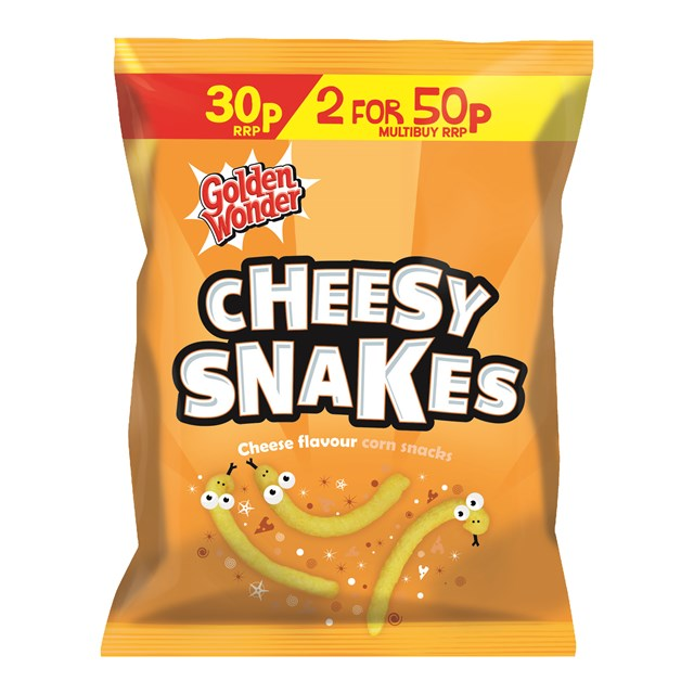 GOLDEN WONDER CHEESEY SNAKES 25G 2 FOR 50P (36 PACK)