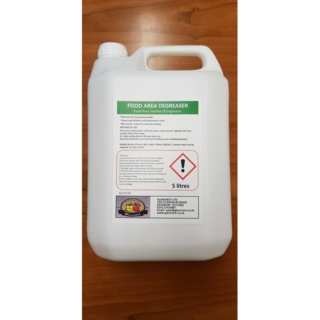 GLENCREST 5L FOOD AREA SANITISER & DEGREASER