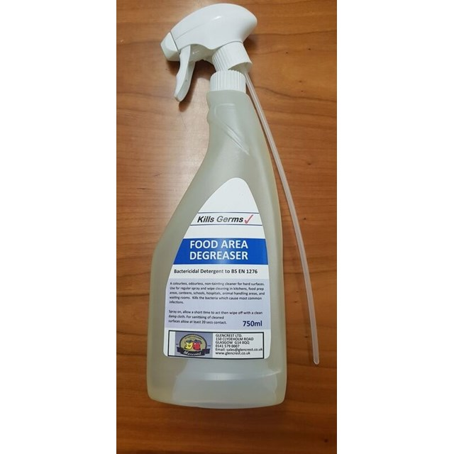 GLENCREST 750ml FOOD AREA DEGREASER BACTERICIDAL SPRAY DETERGENT SPRAY