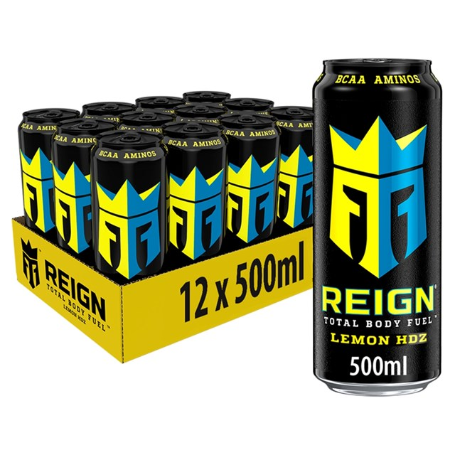 REIGN ENERGY DRINK LEMON HDZ 500ml £1.49 (12 PACK)