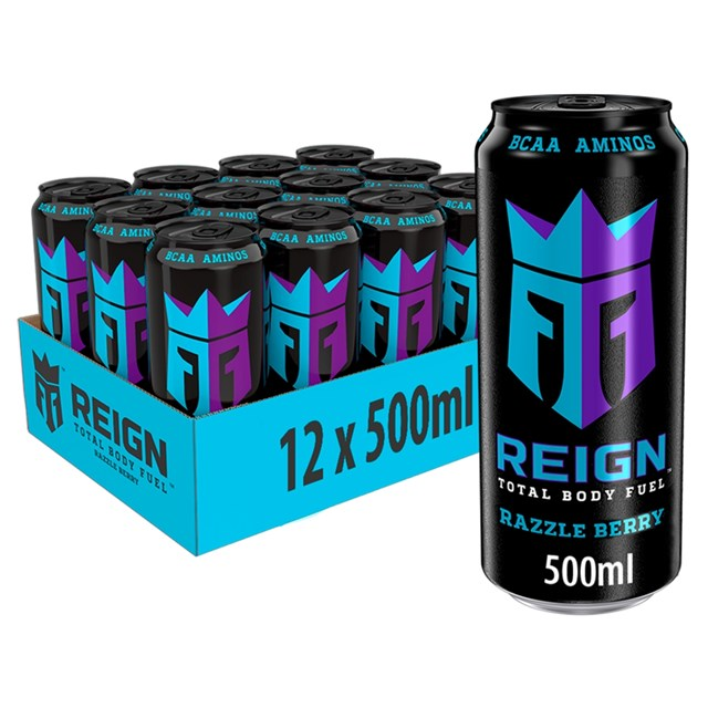 REIGN ENERGY DRINK RAZZLE BERRY 500ml £1.49 (12 PACK)