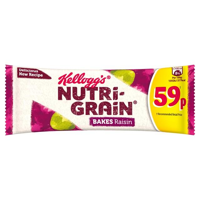 KELLOOGS CEREAL BARS 59P NUTRIGRAIN BAKES RAISIN (24 PACK) 26 JUNE DATED