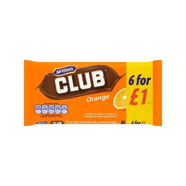 MCVITIES CLUB ORANGE £1 BISCUITS 6PACK