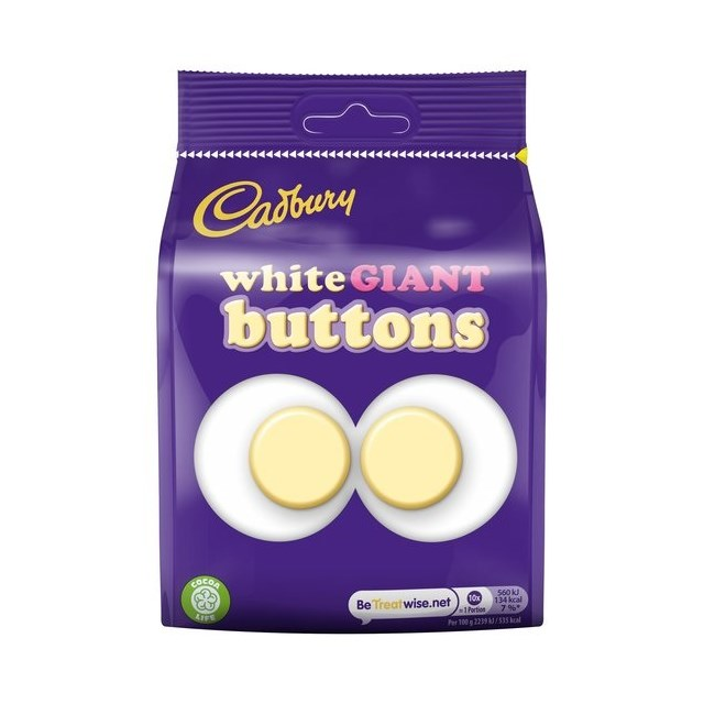 CADBURYS WHITE CHOCOLATE GIANT BUTTONS £1 110g (10 PACK)