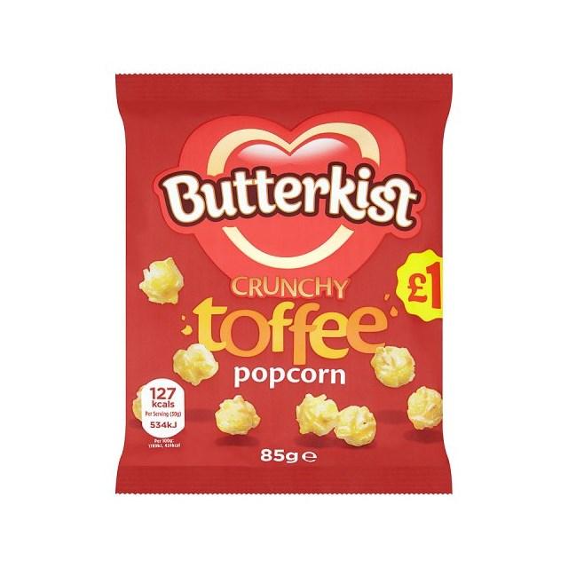BUTTERKIST CRUNCHY TOFFEE POPCORN 85g £1 (12 PACK)