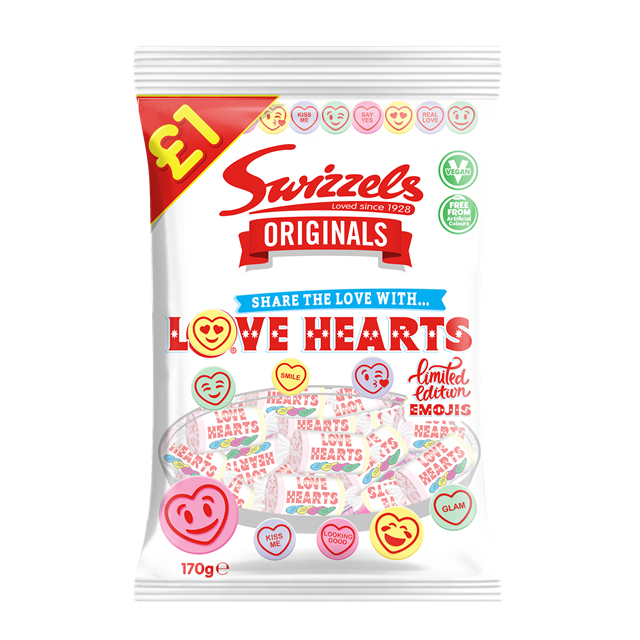 SWIZZELS ORIGINALS LOVE HEARTS 142g £1 (12 PACK)