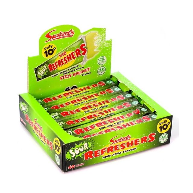 SWIZZELS 10P REFRESHERS SOUR APPLE CHEW BAR