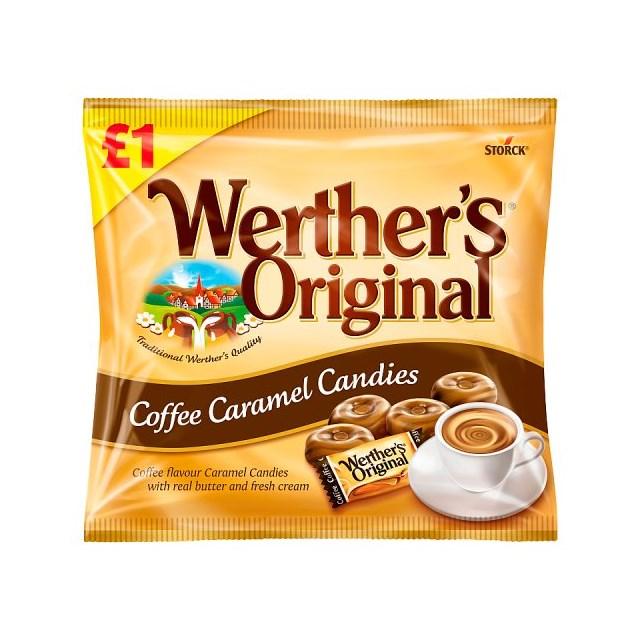WERTHERS ORIGINAL COFFEE CARAMEL CANDIES £1 110g (12 PACK)