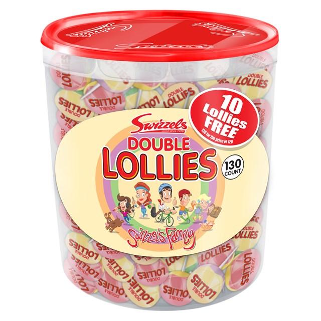 SWIZZELS DOUBLE LOLLIES 130 Tub Plus 10 Free