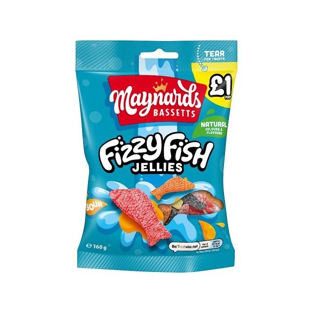MAYNARDS BASSETTS £1 FIZZY FISH JELLIES 160g (12 PACK)