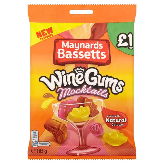 MAYNARDS BASSETTS £1 WINE GUMS MOCKTAILS 165g (12 PACK)