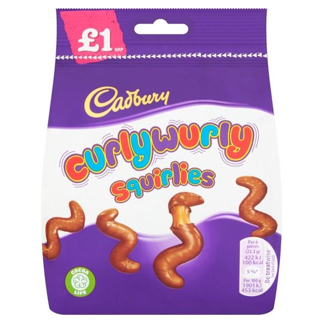CADBURYS CURLY WURLY SQUIRLIES £1 90g (10 PACK)