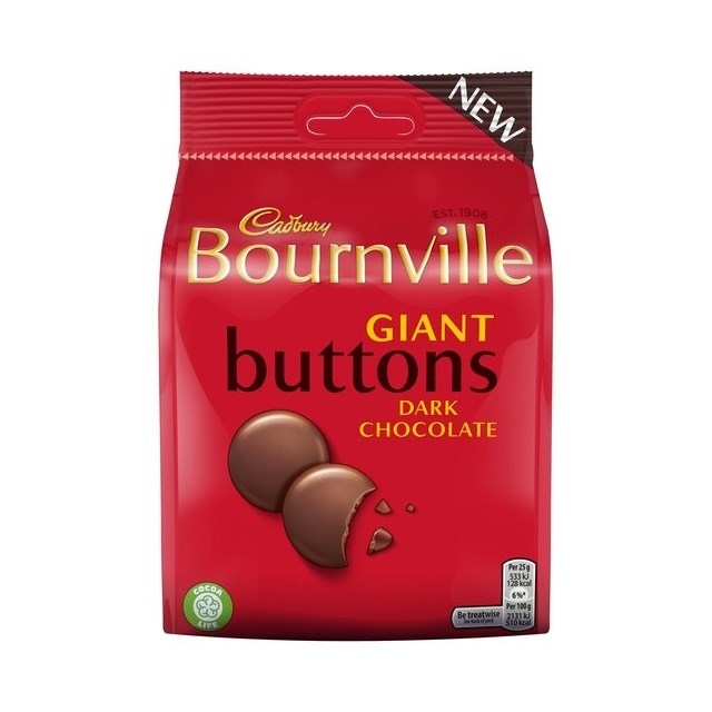BOURNVILLE DARK CHOCOLATE GIANT BUTTONS 95g (10 PACK)