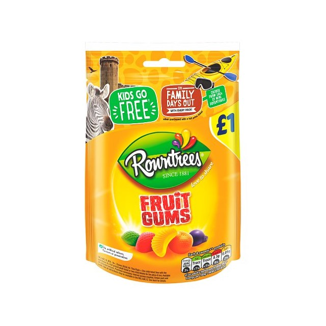 ROWNTREES £1 FRUIT GUMS BAGS