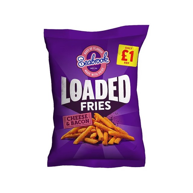SEABROOK LOADED FRIES CHEESE & BACON 80g £1 (11 PACK) 16 AUGUST DATED