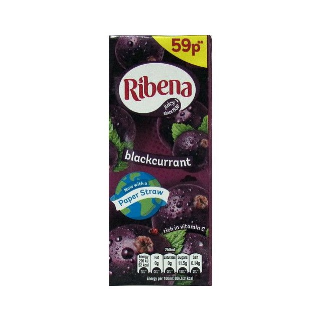 RIBENA BLACKCURRANT CARTON 250ml 59p (24 PACK)