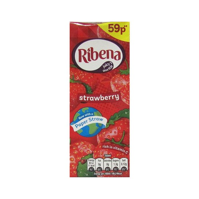 RIBENA STRAWBERRY CARTON 250ml 59p (24 PACK)