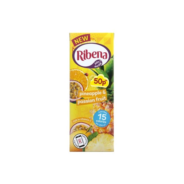 RIBENA 50P CARTON PINEAPPLE & PASSION