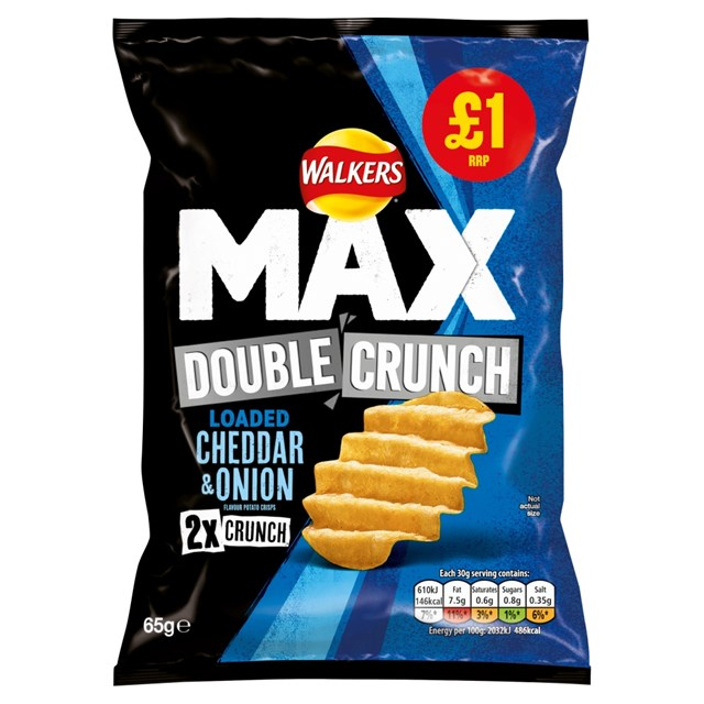 WALKERS £1 MAX DOUBLE CRUNCH CHEDDAR & ONION