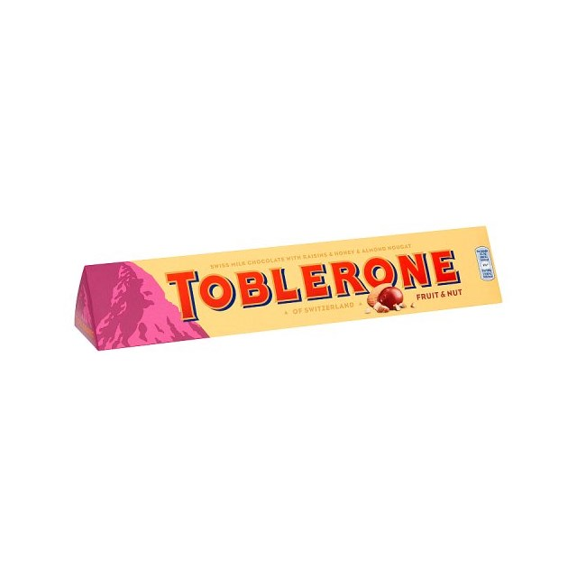 TOBLERONE FRUIT & NUT MILK CHOCOLATE BAR 360g 27 MAY DATED