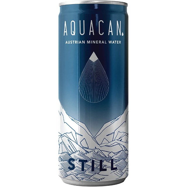 AQUACAN STILL MINERAL WATER CAN 330ml (24 PACK)