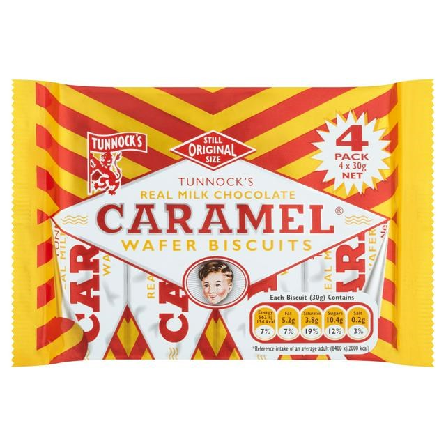 TUNNOCKS CARAMEL WAFERS 4 PACK