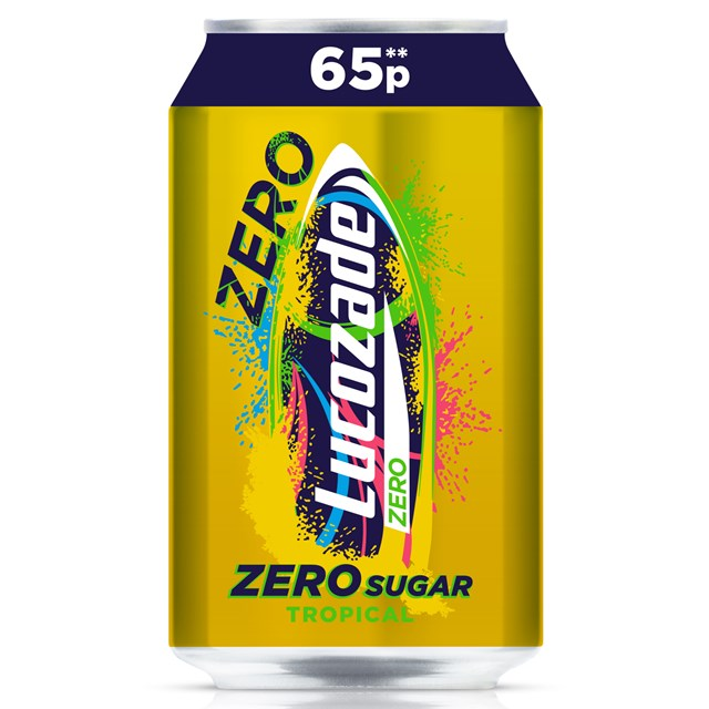 LUCOZADE CANS ZERO TROPICAL 330ml 65p (24 PACK)