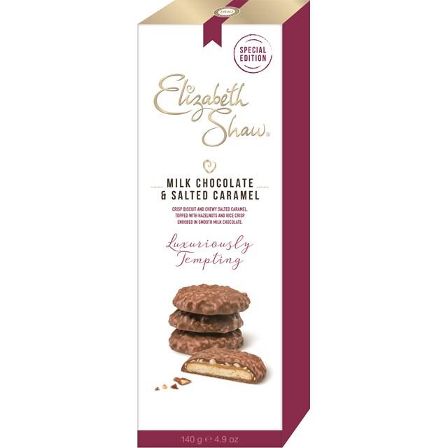 ELIZABETH SHAW MILK CHOCOLATE & SALTED CARAMEL BISCUITS 140g