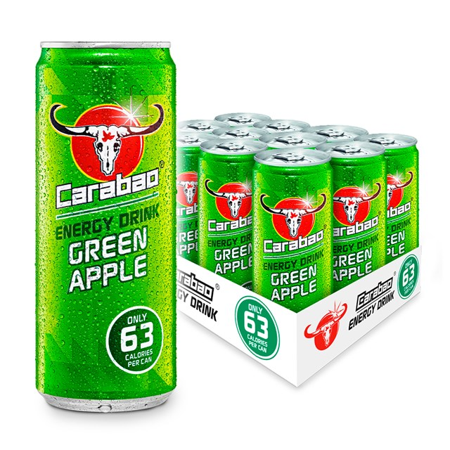 CARABAO ENERGY DRINK GREEN APPLE 330ml 69P (12 PACK)