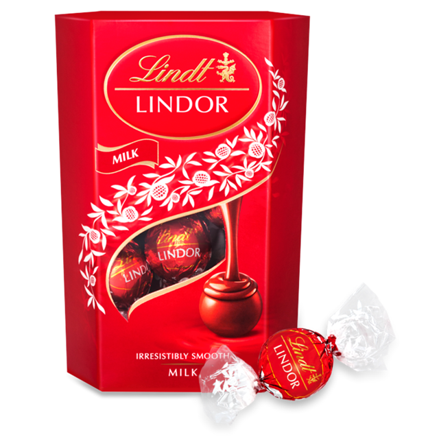 LINDT LINDOR CORNET MILK CHOCOLATE TRUFFLES BOX 200G (8 BOXES)