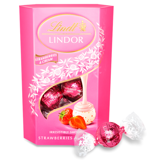 LINDT LINDOR STRAWBERRY & CREAM CHOCOLATE BOX 200G (8 BOXES)