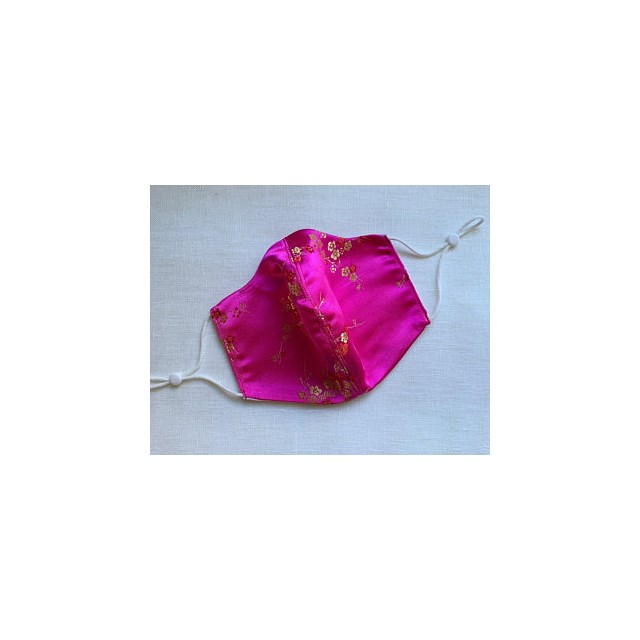 CHINESE PINK & GOLD SATIN HANDMADE in the UK FACEMASK ADJUSTABLE