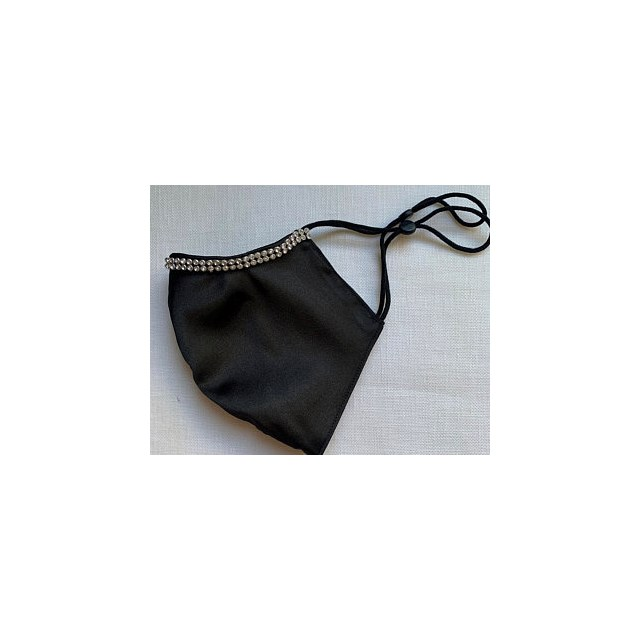 BLACK SATIN HANDMADE in UK FACEMASK DIAMANTE WASHABLE RE-USABLE ADJUSTABLE