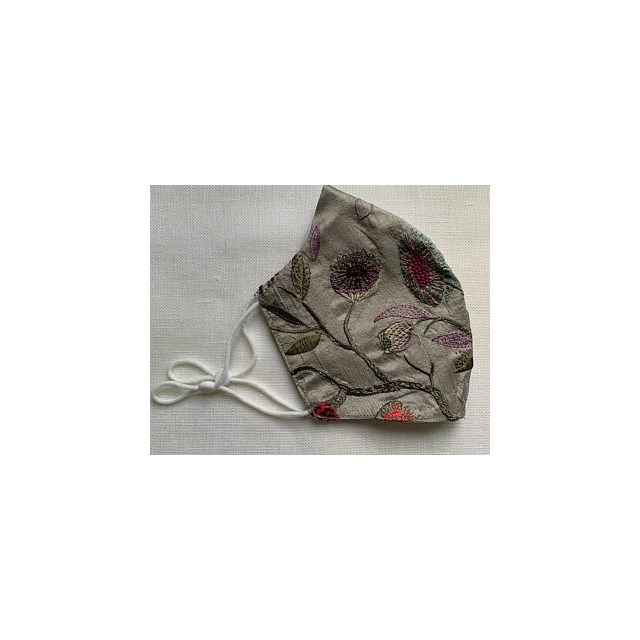 RAW SILK HANDMADE in the UK FLORAL EMBROIDERED RE-USABLE ADJUSTABLE