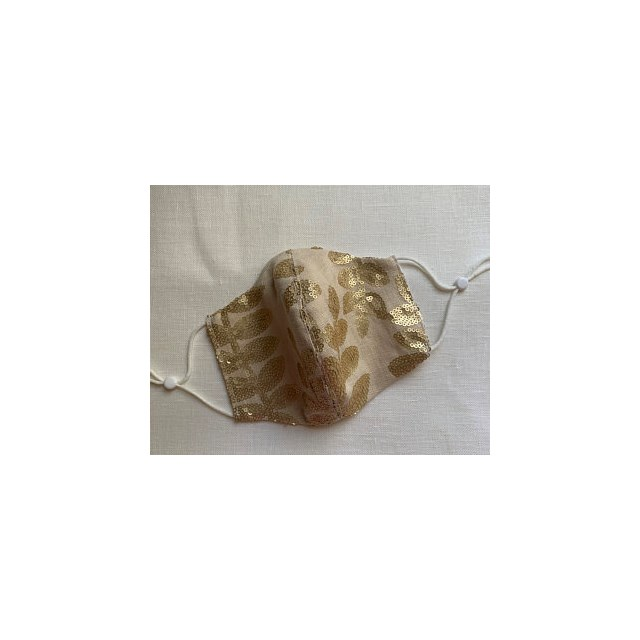 LINEN SEQUINNED HANDMADE in the UK FACEMASK WASHABLE RE-USABLE ADJUSTABLE