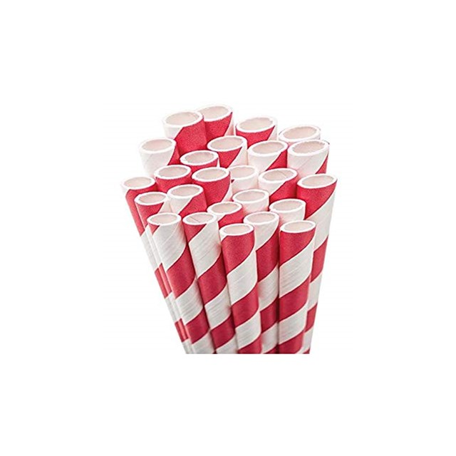 RED & WHITE PAPER STRAWS 8 INCH