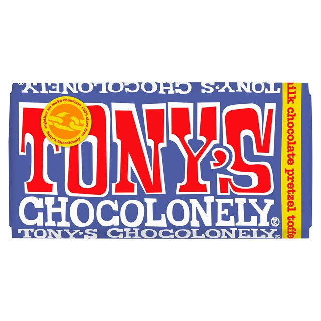TONYS CHOCOLONELY DARK MILK PRETZEL TOFFEE 180g