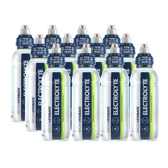 WOW HYDRATE ELECTROLYTE LEMON & LIME 500ml (12 PACK)